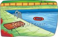Pool In a Backyard Royalty Free Clipart Picture
