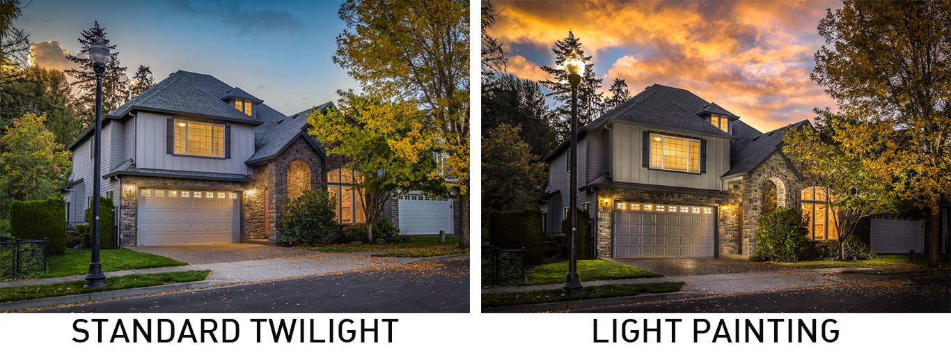 Twilight Photo v. Light Painting | Picture That Property