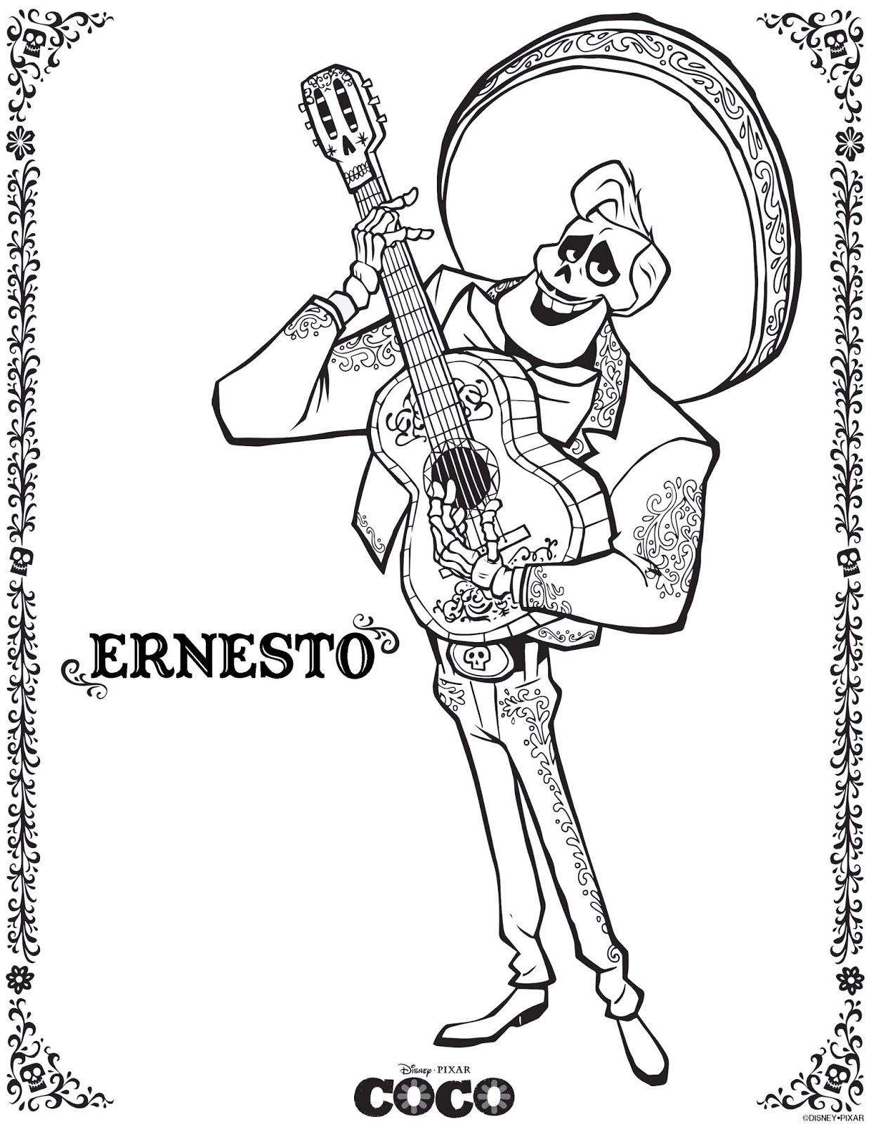ernesto coco coloring pages from disney pixar movie - Coloring Page Coco