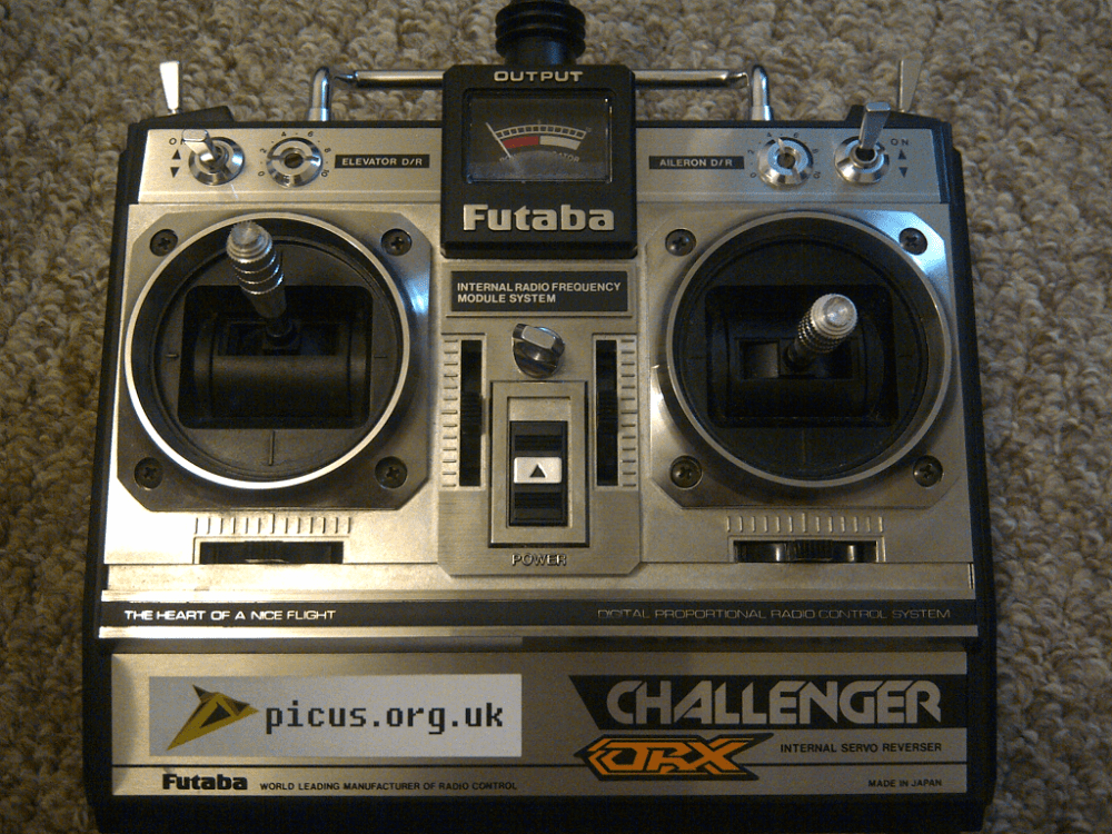 medium resolution of joey s modified futaba challenger transmitter with stickers viewed from the front