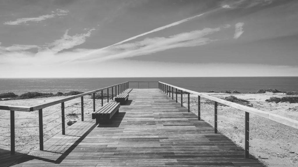 Paesaggio marino bianco e nero non filtro
