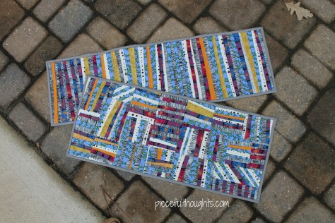 Improv Quilts - runner and Birches - piecefulthoughts.com