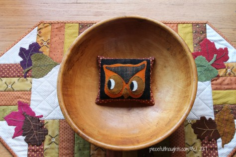 Owl Woolie - Buttermilk Basin's Half Pints Owl Woolen Pin Cushion, all ready to gift to a friend - piecefulthoughts.com (c) 2017