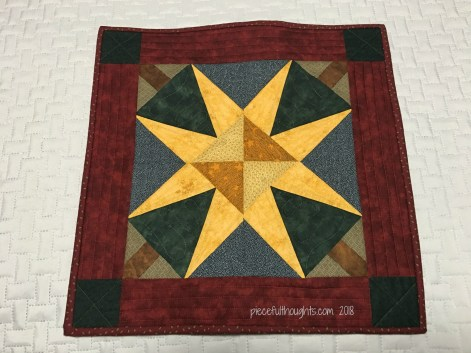 """North Star Mini - This little mini quilt measures 17"""" square - piecefulthoughts.com 2018"""