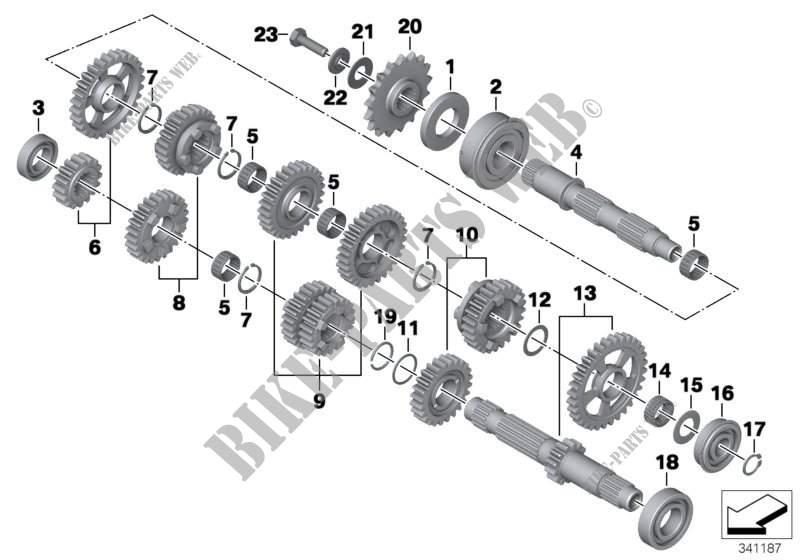 Pièces pignonnerie p. boîte 6 vitesses pour BMW F 800 GS