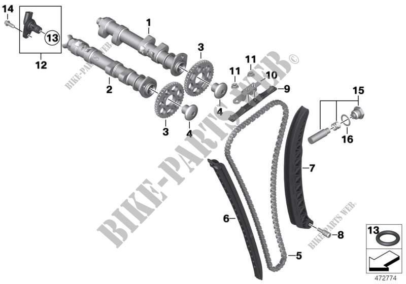 Cde soupapes arbre a cames/transm chaine pour BMW F 800 GS
