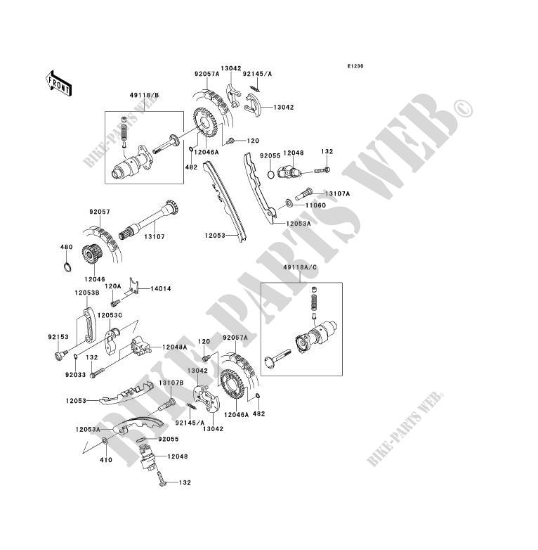 ARBRE A CAME/TENDEUR pour Kawasaki TERYX 750 FI 4X4 LE