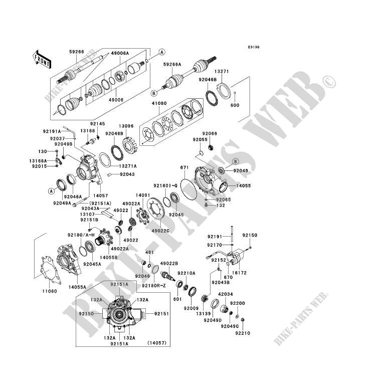 ARBRE DE TRANSMISSION AVANT KVF360 A1 KVF360 4X4 2003 360