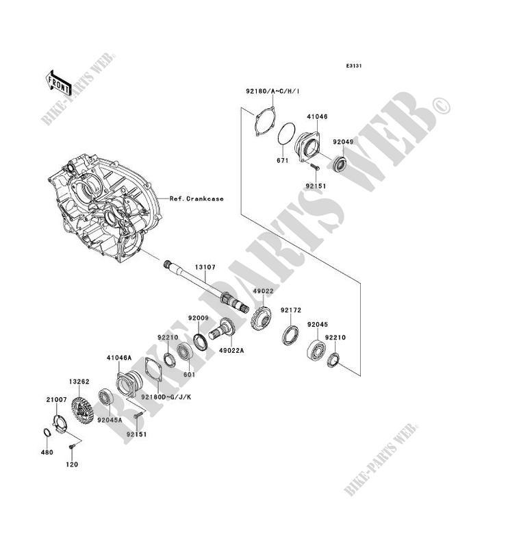 PIGNON CONIQUE AVANT pour Kawasaki BRUTE FORCE 650 4X4I