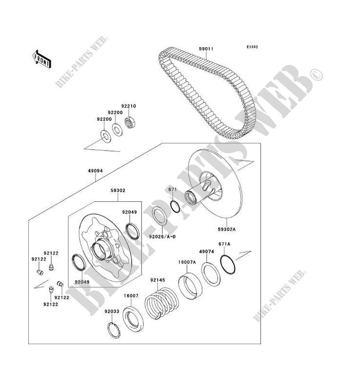VARIATEUR PRIMAIRE/COURROIE pour Kawasaki BRUTE FORCE 750