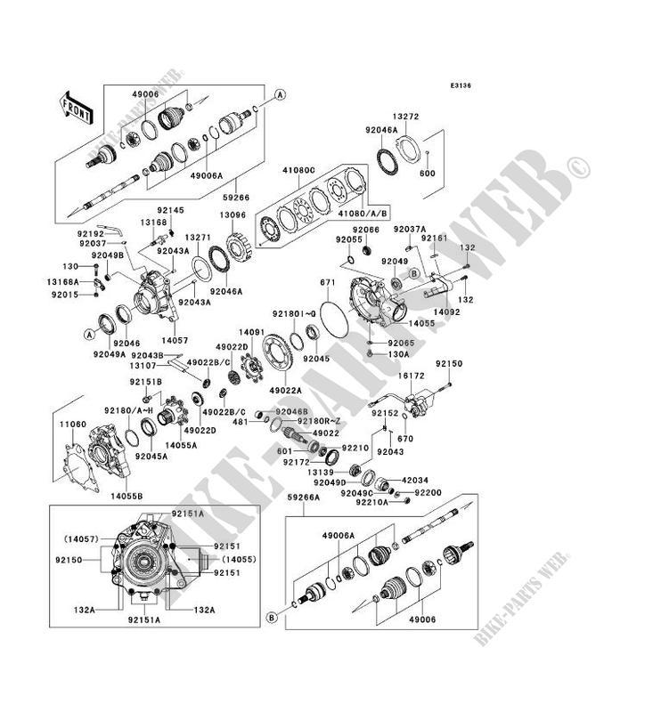 ARBRE DE TRANSMISSION AVANT pour Kawasaki BRUTE FORCE 750