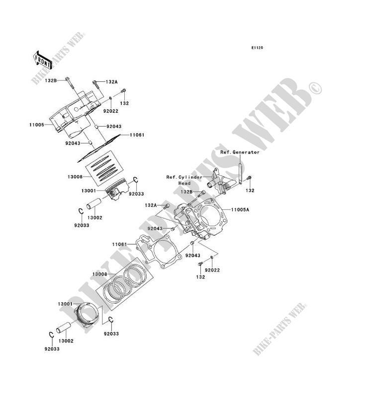 CYLINDRE/PISTON pour Kawasaki BRUTE FORCE 750 4X4I EPS