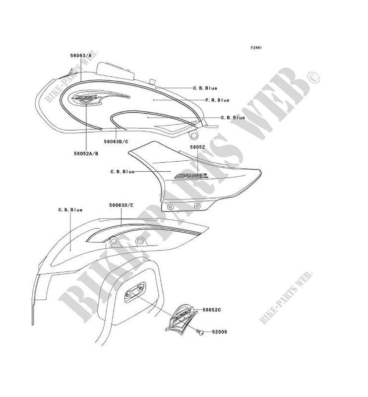 STICKER(C.B.BLEU/P.R.BLEU) pour Kawasaki ELIMINATOR 125