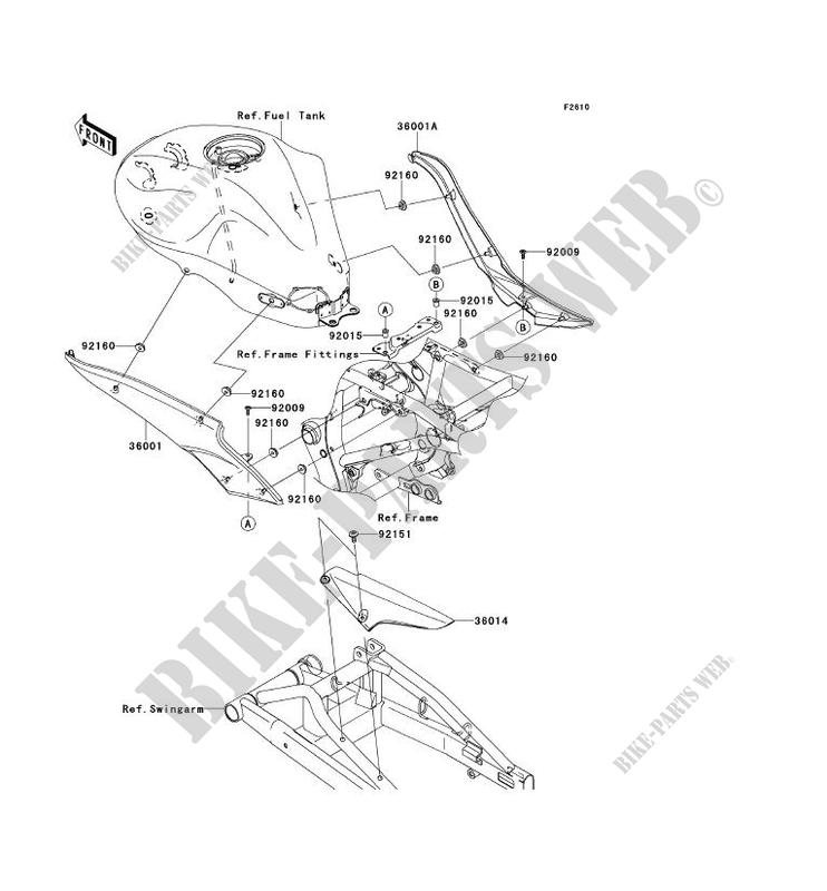 CACHE LATERAL GARDE CHAINE ER650A7F ER 6N 2007 650 MOTOS