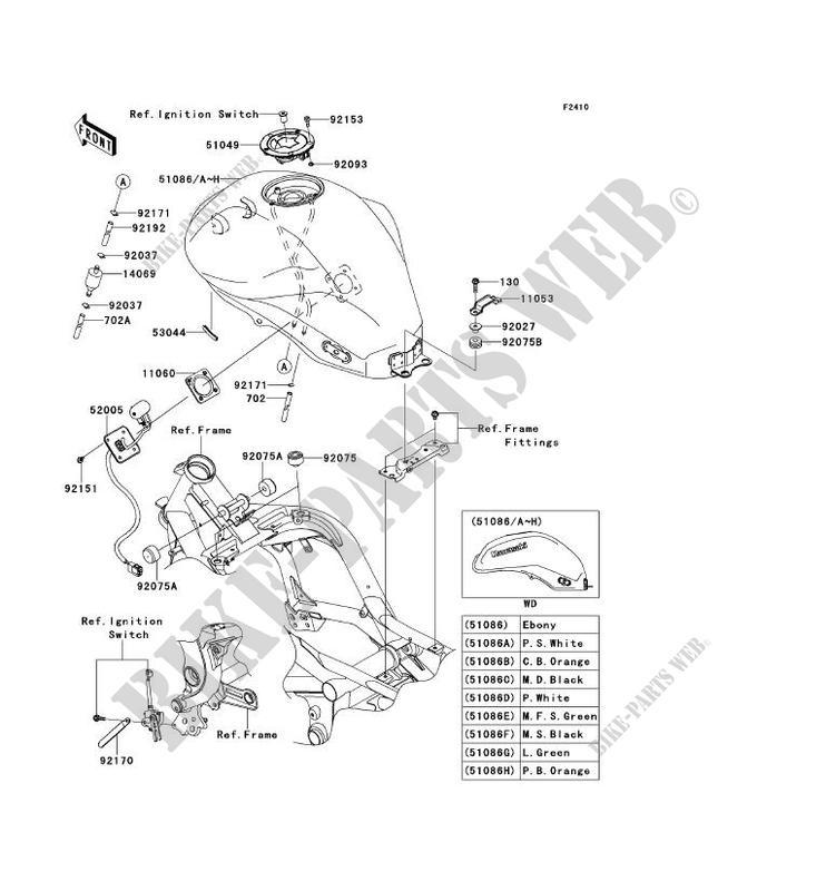 RESERVOIR CARBURANT ER650DAF ER 6N ABS 2010 650 MOTOS