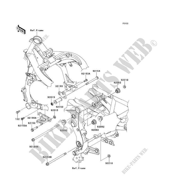SUPPORT MOTEUR ER650DAF ER 6N ABS 2010 650 MOTOS Kawasaki