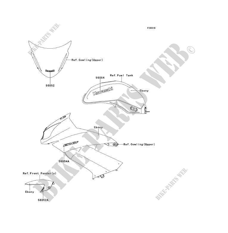 STICKER(EBONY) pour Kawasaki ER-6F ABS 2010 # KAWASAKI