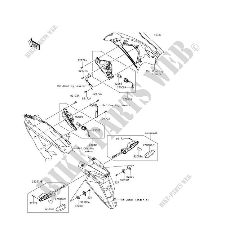 CLIGNOTANTS pour Kawasaki ER-6F ABS 2012 # KAWASAKI