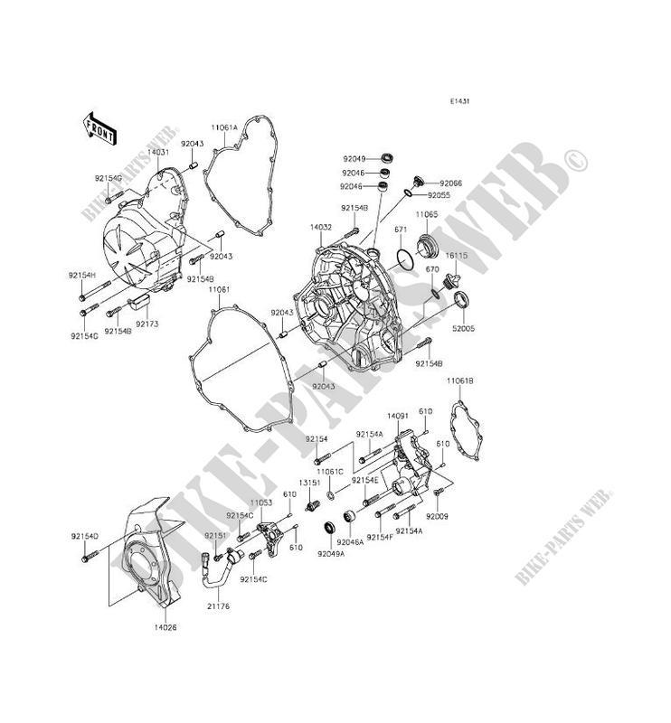 COUVERCLES MOTEUR pour Kawasaki ER-6F ABS 2012 # KAWASAKI