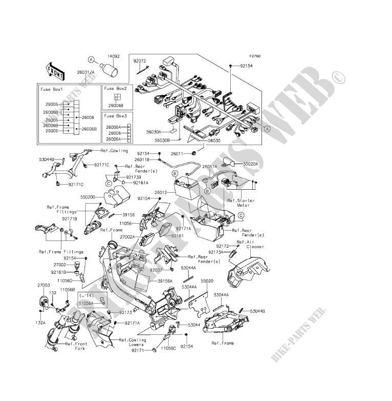 CHASSIS EQUIPMENT ELECTRIQUE pour Kawasaki ER-6F ABS 2013
