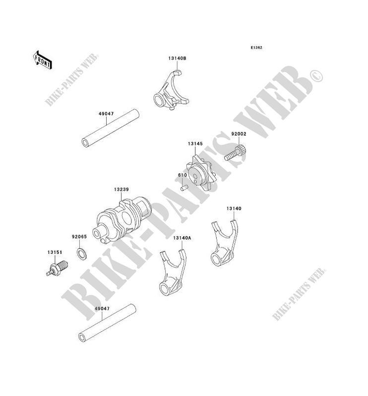 FOURCHETTE/BARRILLET DE SELECTION pour Kawasaki KLR650