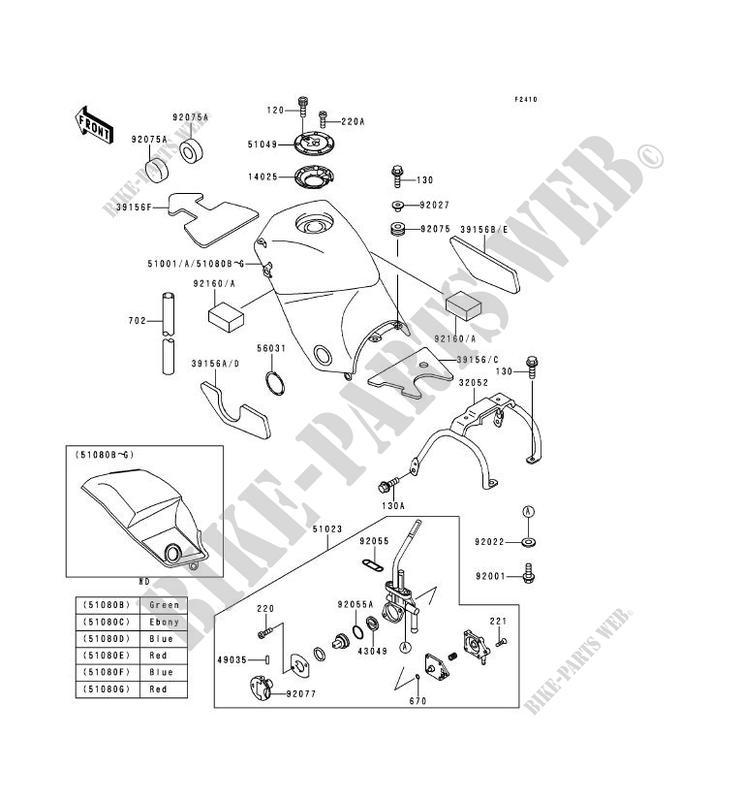 RESERVOIR CARBURANT KLE500 A5 KLE500 1995 500 MOTOS