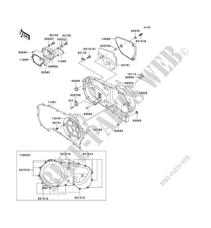 CARTER MOTEUR DROIT(S) pour Kawasaki VN1500 CLASSIC TOURER
