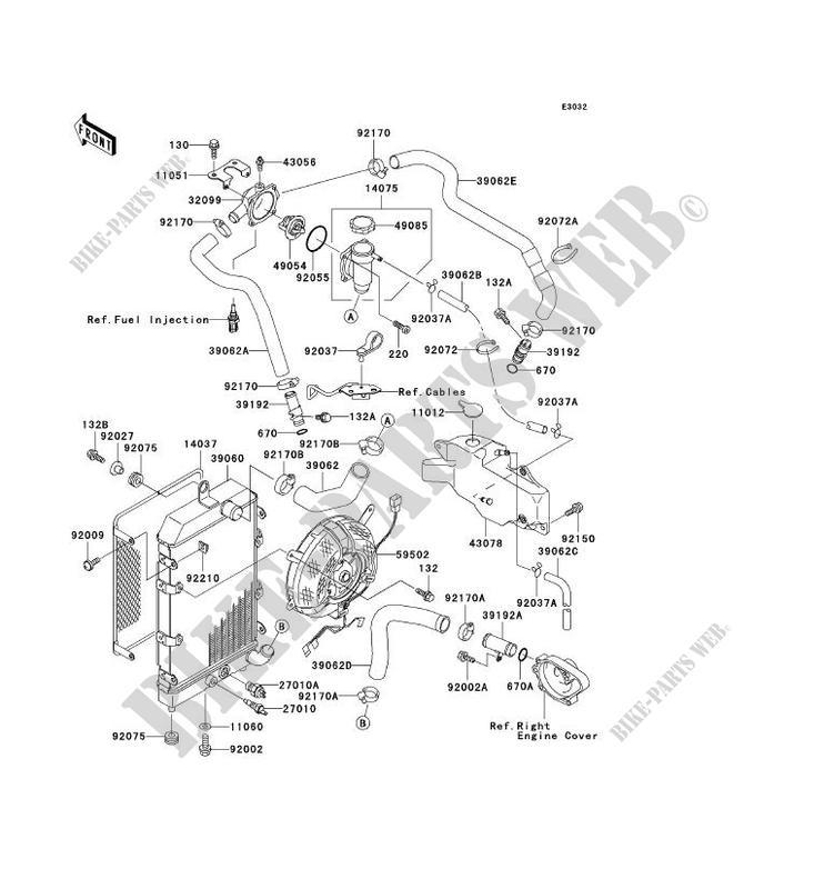 RADIATEUR pour Kawasaki VN1500 CLASSIC FI 2000 # KAWASAKI