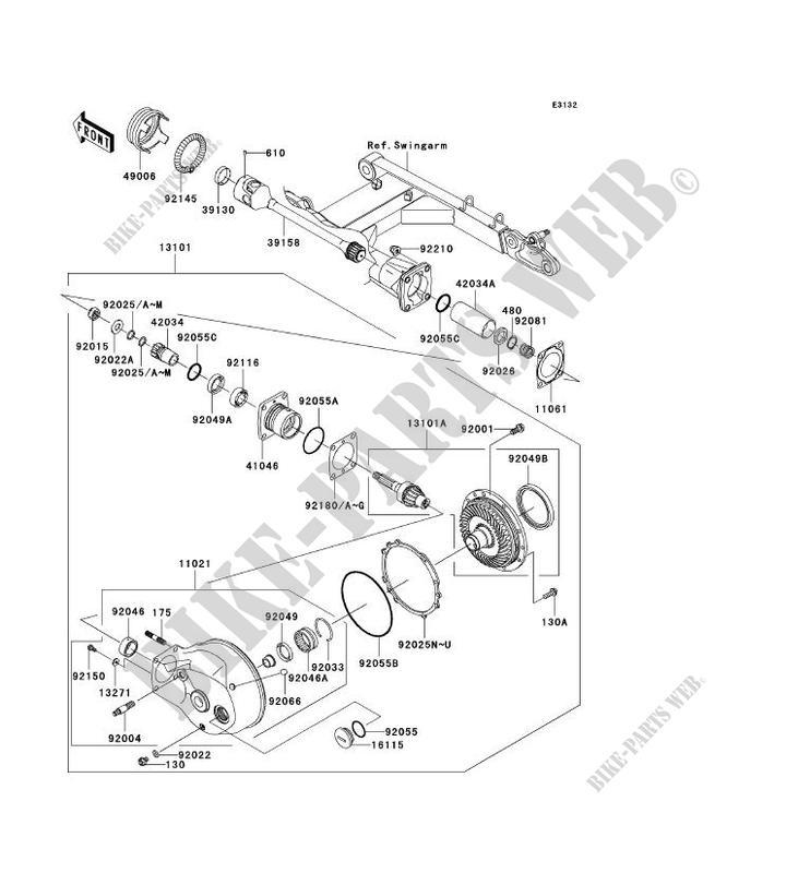 ARBRE DE TRANSMISSION/TRANS.FINALE pour Kawasaki VN1600