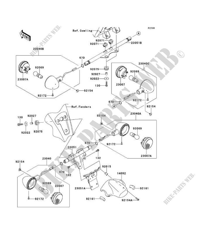 CLIGNOTANTS pour Kawasaki VN1700 VOYAGER ABS 2009