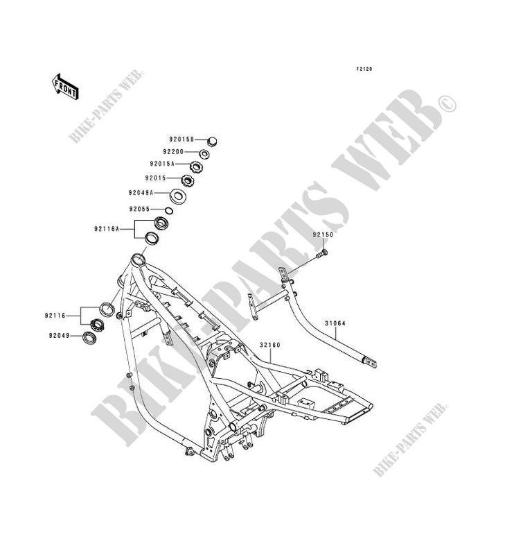 CHASSIS ZR1100 A3 ZEPHYR 1100 1994 1100 MOTOS Kawasaki