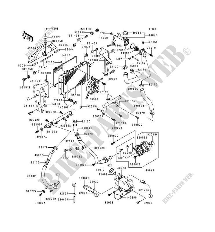RADIATEUR pour Kawasaki ZRX1100 2000 # KAWASAKI