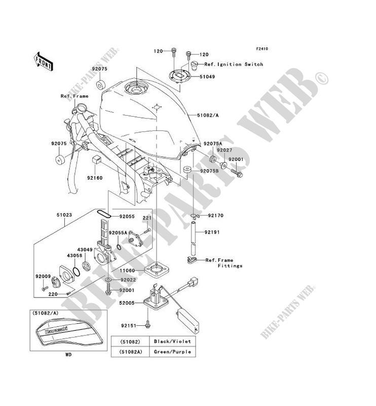 RESERVOIR CARBURANT ZR1200 A1P ZRX1200R 2001 1200 MOTOS