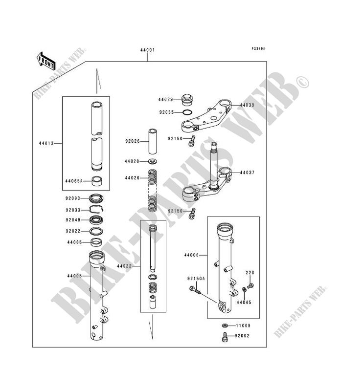 FOURCHE(ZR750C 026126 038583) pour Kawasaki ZEPHYR 750