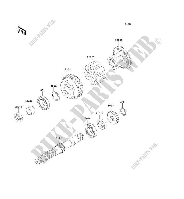 ARBRE SECONDAIRE ZR750 D1 ZEPHYR 750 1996 750 MOTOS
