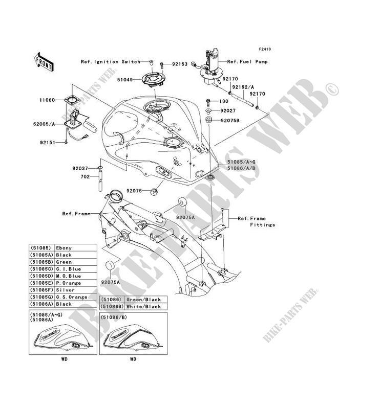 RESERVOIR CARBURANT ZR750L8F Z750 2008 750 MOTOS Kawasaki