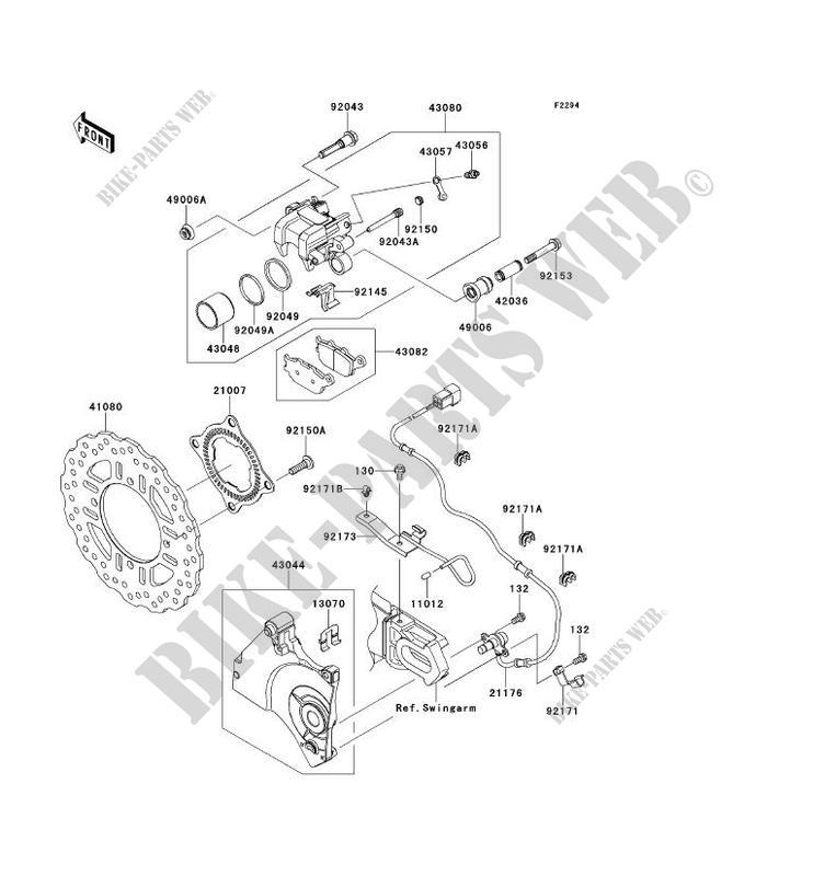 FREIN ARRIERE ZR750PCF Z750R ABS 2012 750 MOTOS Kawasaki
