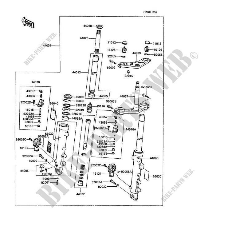 FOURCHE ZXT00A 000321 ZX1000 A3 GPZ1000RX 1988 1000 MOTOS