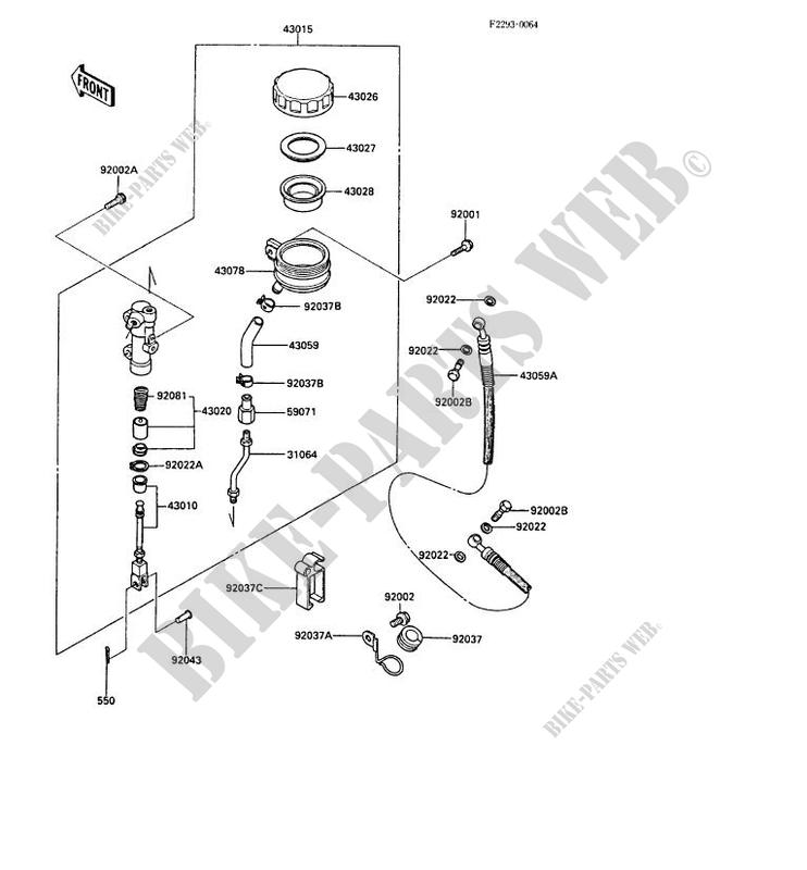 MAITRE CYLINDRE ARRIERE ZX1000 A3 GPZ1000RX 1988 1000