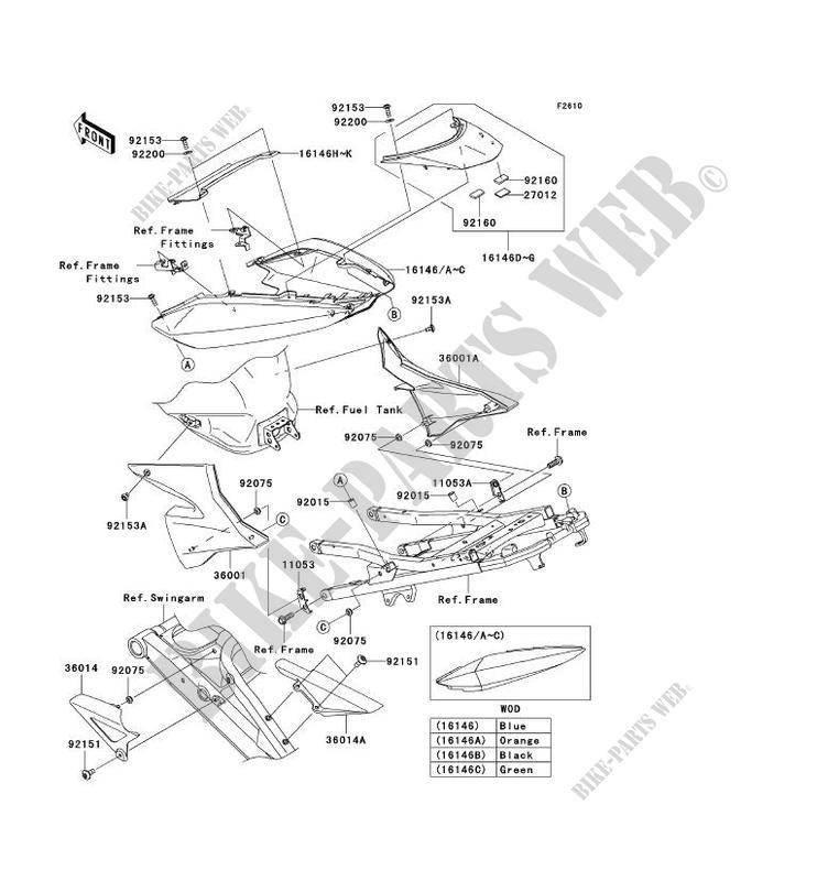 CACHE LATÉRAL/GARDE CHAINE pour Kawasaki NINJA ZX-10R 2004