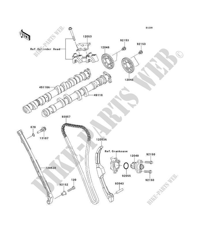 ARBRE A CAME/TENDEUR pour Kawasaki NINJA ZX-10R 2011