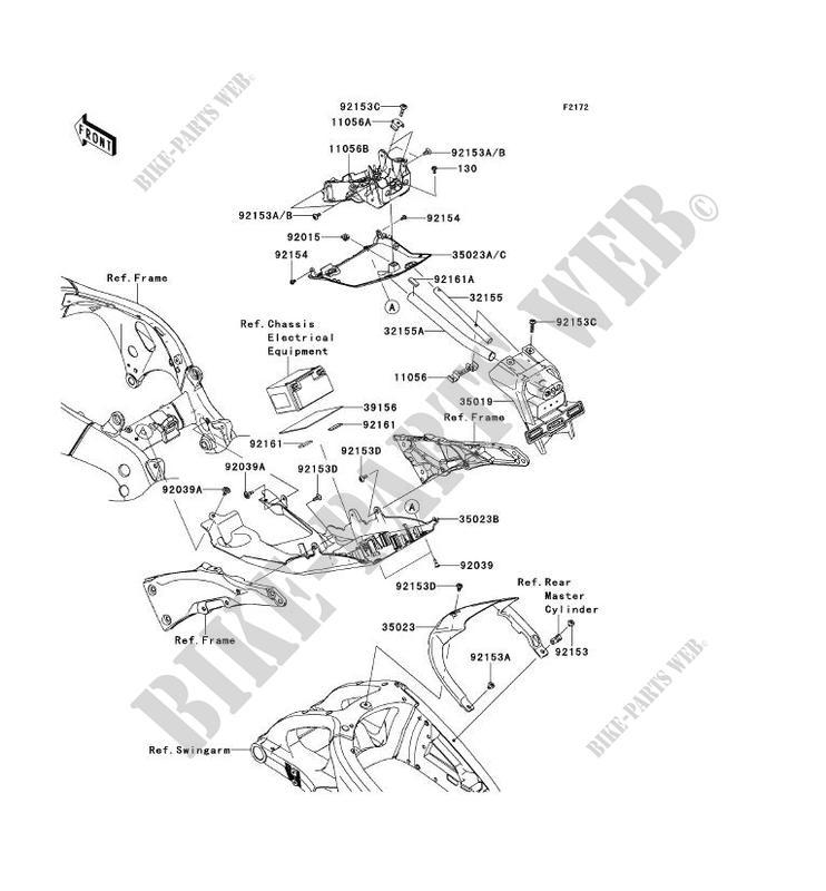 GARDE BOUE ARRIÈRE pour Kawasaki NINJA ZX-10R 2011
