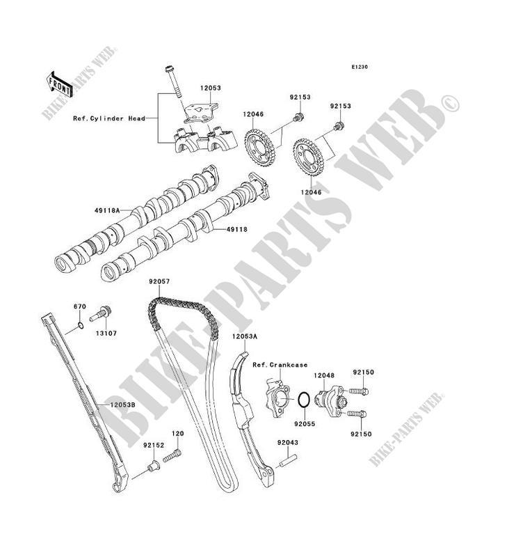 ARBRE A CAME/TENDEUR pour Kawasaki NINJA ZX-10R ABS 2011