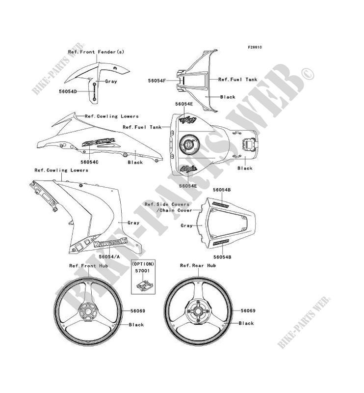STICKER(GRAY) pour Kawasaki NINJA ZX-10R ABS 2012