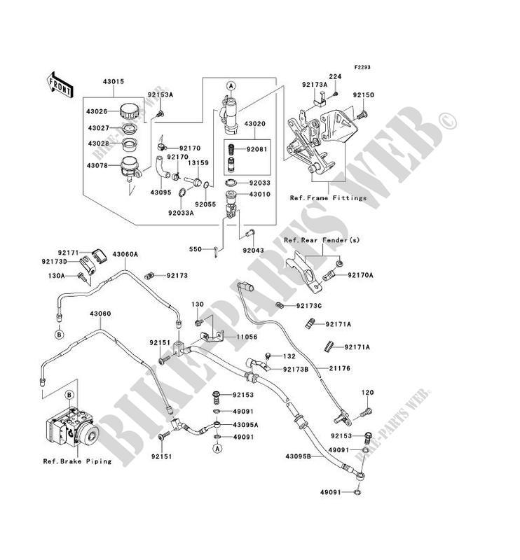 MAITRE CYLINDRE ARRIÈRE pour Kawasaki NINJA ZX-10R ABS