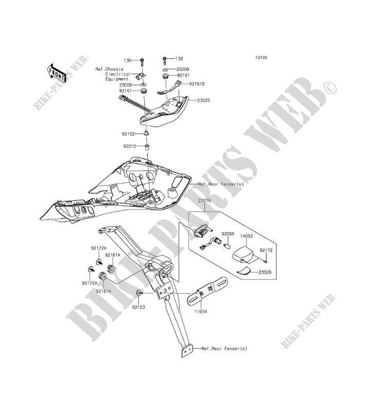 FEUX ARRIERE S ZX1000MFF Z1000SX ABS 2015 1000 MOTOS