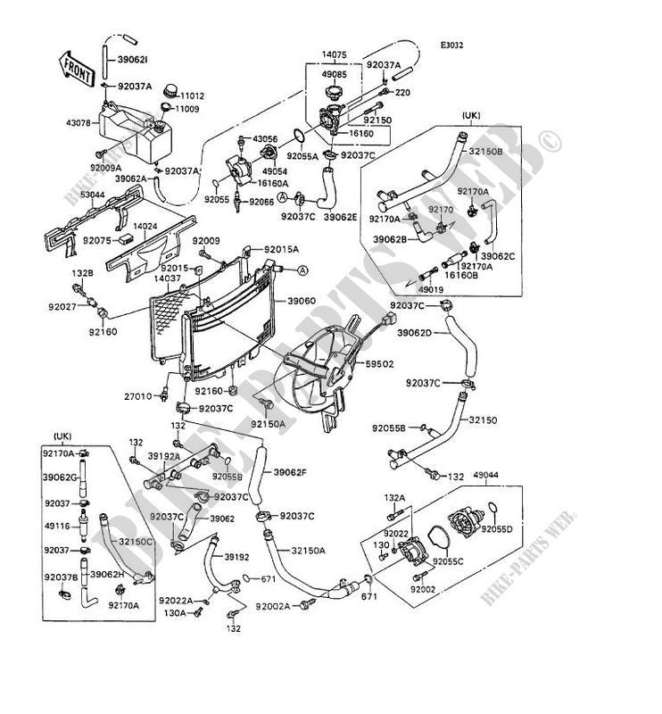 RADIATEUR ZX1100 C2 ZZR1100 1991 1100 MOTOS Kawasaki moto