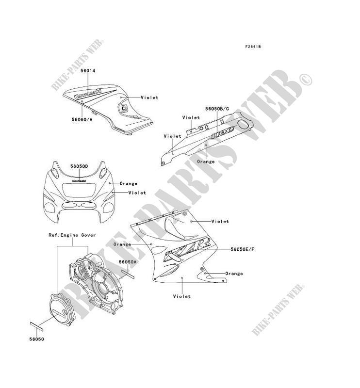 STICKER VIOLET ORANGE ZX1100 D1 ZZR1100 1993 1100 MOTOS
