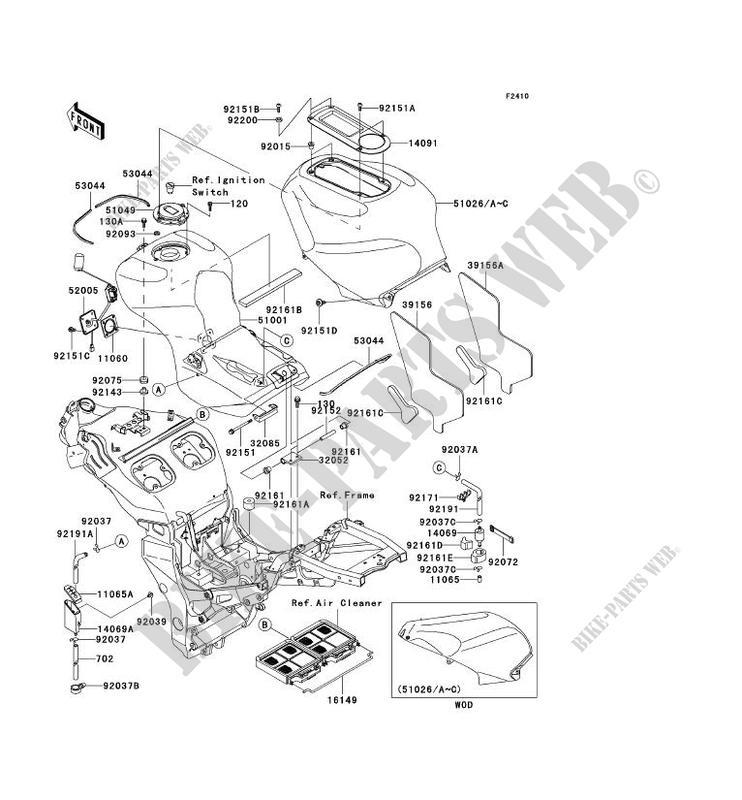 RESERVOIR CARBURANT ZX1200 A1H NINJA ZX 12R 2000 1200