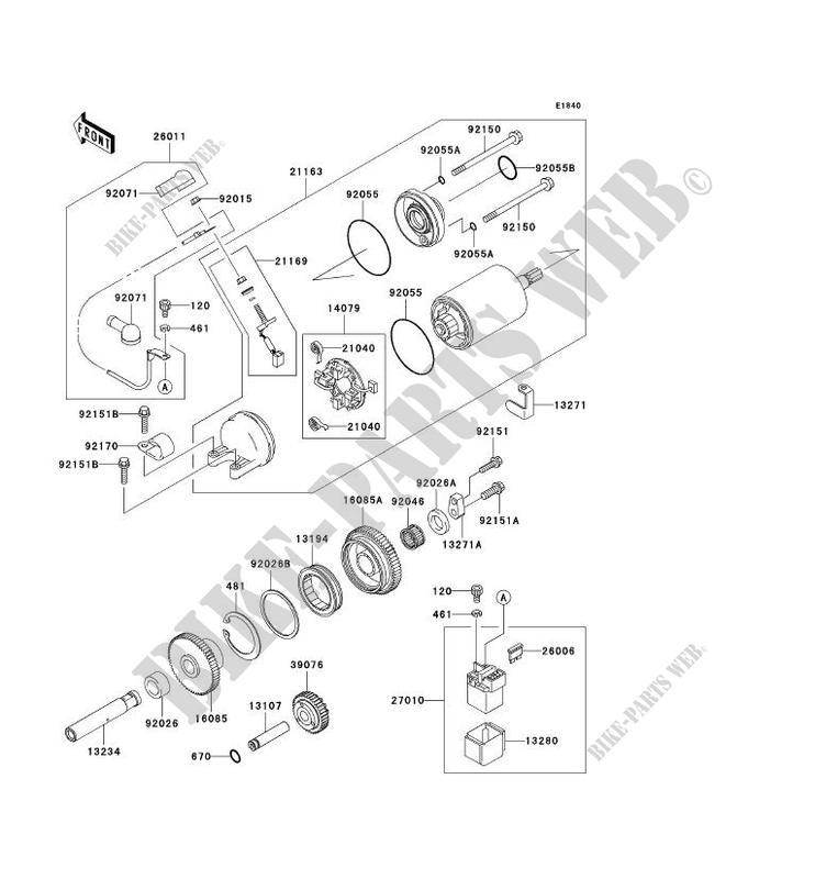 DEMARREUR ZX1200 B1 NINJA ZX 12R 2002 1200 MOTOS Kawasaki